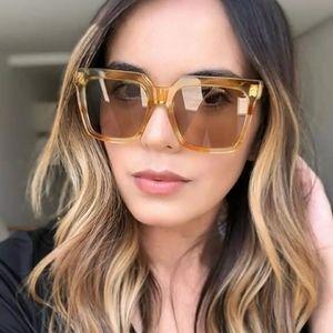 New Oversized Tea Color Luxury Flat Top Sunglasses